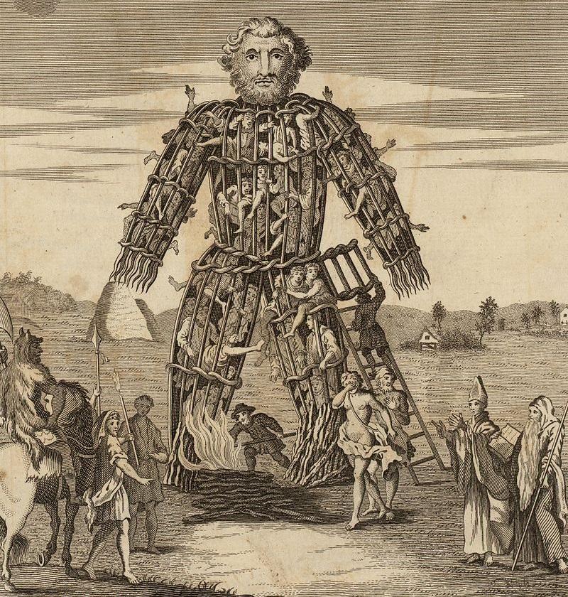ウィッカーマンによるタラニスへの生け贄の儀式