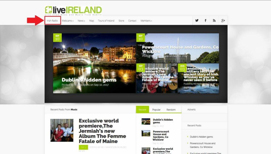 liveirelandのトップページ
